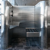 Telefonbås i flygplats Arkivfoton