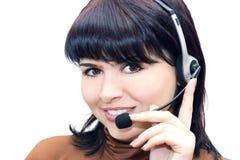 Telefonbediener getrennt auf Weiß Stockfotos