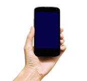 Telefone à disposição isolado no branco Fotos de Stock Royalty Free