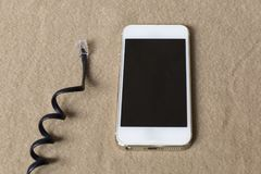 Telefone alt und modern Stockbild