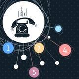 Telefone ao ícone com o fundo ao ponto e com estilo infographic ilustração royalty free