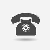 Telefone ao ícone retro no plano na moda no fundo cinzento Fotografia de Stock Royalty Free