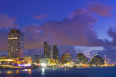 Telefone Aviv Cituscape At Sunset Imagens de Stock Royalty Free