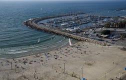 Telefone Aviv Marina e cena da praia, Israel Imagem de Stock Royalty Free