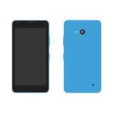 Telefone celular azul do vetor - parte dianteira e parte traseira Imagens de Stock Royalty Free