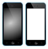 Telefone celular com caixa azul Fotos de Stock