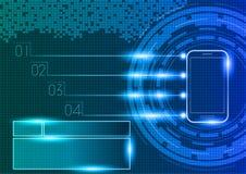 Telefone celular com conceito da tecnologia digital ilustração do vetor
