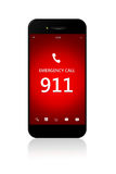 Telefone celular com emergência número 911 sobre o branco Foto de Stock