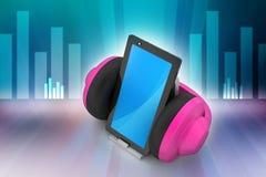 Telefone celular com fones de ouvido Fotos de Stock Royalty Free