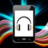 Telefone celular com fones de ouvido, ilustração do telefone celular Fotos de Stock Royalty Free