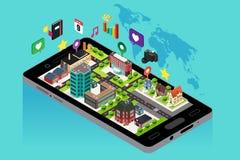 Telefone celular com GPS e navegação do mapa Imagens de Stock Royalty Free