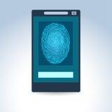 Telefone celular com varredura da impressão digital Imagens de Stock Royalty Free