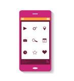 Telefone celular cor-de-rosa do ícone Fotografia de Stock Royalty Free