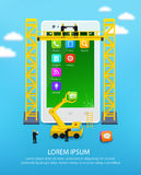 Telefone celular da construção, engenharia de interface de utilizador do smartphone e desenvolvimento de aplicações móvel ilustração do vetor