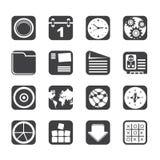 Telefone celular da silhueta, computador e ícones do Internet Fotos de Stock
