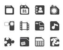Telefone celular da silhueta, computador e ícones do Internet Imagens de Stock