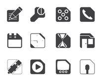 Telefone celular da silhueta, computador e ícones do Internet Foto de Stock Royalty Free