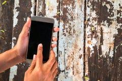 Telefone celular do uso da mulher na cafetaria foto de stock royalty free