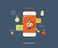 Telefone celular do vetor - conceito do app da aptidão sobre Fotografia de Stock Royalty Free