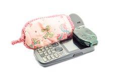Telefone celular e chave Imagem de Stock Royalty Free