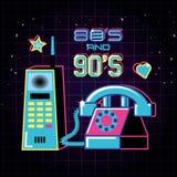 Telefone celular e telefone dos anos 80 e dos anos noventa retros ilustração royalty free