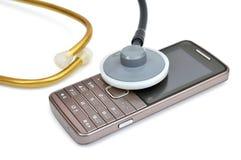 Telefone celular e estetoscópio Fotografia de Stock Royalty Free