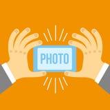 Telefone celular e mão do vetor no estilo liso Fotos de Stock Royalty Free