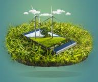 Telefone celular e turbinas eólicas modernos na natureza como Smartphone Imagem de Stock Royalty Free