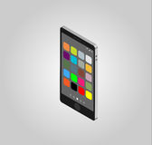 Telefone celular isométrico e ícones Imagens de Stock