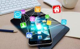 Telefone celular moderno com ícones Fotografia de Stock