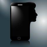 Telefone celular moderno com a silhueta de uma cabeça humana Thinkin Imagem de Stock