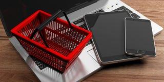 Telefone celular, portátil do computador, tabuleta e um cesto de compras vermelho no fundo de madeira ilustração 3D Fotografia de Stock