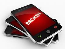 Telefone celular quebrado do erro ilustração royalty free