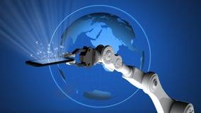 Telefone celular robótico da terra arrendada de braço contra o globo de gerencio ilustração do vetor