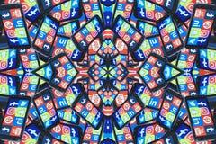 Telefone celular social dos meios fotografia de stock