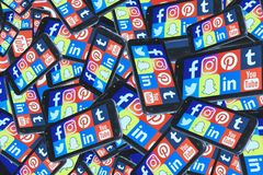 Telefone celular social dos meios foto de stock