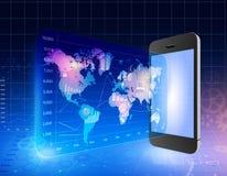 Telefone com tela exterior ao mapa do mundo e aos ícones Fotografia de Stock