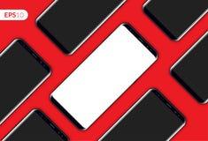 Telefone, composição diagonal do projeto móvel do smartphone isolada no molde vermelho do fundo Modelo realístico da ilustração d Imagem de Stock Royalty Free