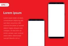Telefone, composição móvel do projeto do smartphone isolada no molde vermelho do fundo Telefones realísticos do modelo dois da il Imagens de Stock