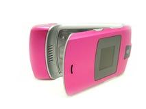 Telefone cor-de-rosa com um urso. Imagem de Stock