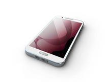 telefone 3d branco com tela cor-de-rosa em um fundo branco Imagens de Stock Royalty Free