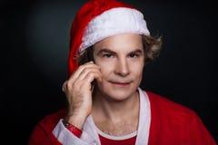 Telefone da chamada de Santa fotografia de stock