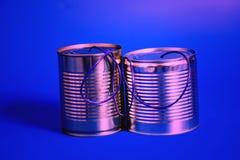 Telefone da lata de estanho Conceito de uma comunicação Fotografia de Stock Royalty Free
