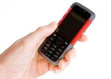 Telefone da música na mão da mulher Fotografia de Stock