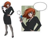 Telefone da terra arrendada da mulher de negócio do estilo do Anime Fotos de Stock Royalty Free