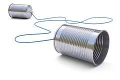 Telefone das latas de lata fotografia de stock royalty free