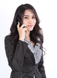 Telefone de fala da mulher Fotografia de Stock Royalty Free