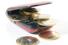 Telefone de pilha com dinheiro Fotos de Stock
