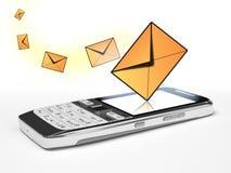 Telefone de pilha com mensagem Fotografia de Stock