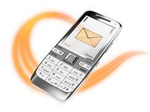 Telefone de pilha com mensagem Fotografia de Stock Royalty Free